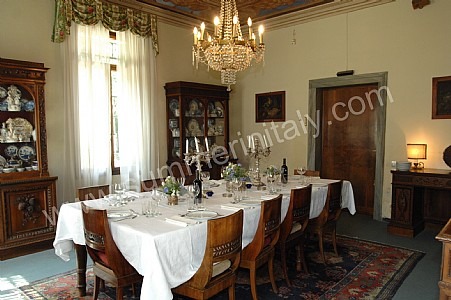 The Ceiling Of The Dining Room Is Frescoed. The Furnishings Are Classic,  And Include Some Antique Pieces. The Dining Table Can Accommodate 12 Guests.