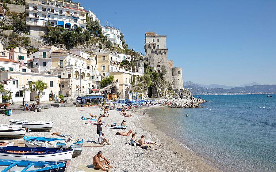 Cetara Beach Beach In Amalfi Coast Italy